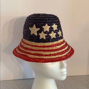 Child's vintage straw beach sun hat flag design